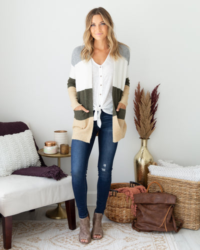 Little Do You Know Cardigan - Olive Multi