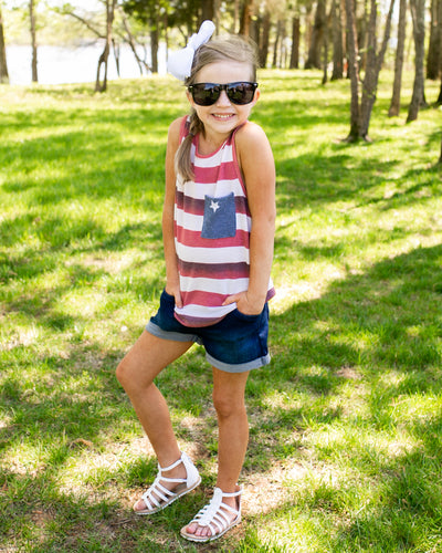 Little Firecracker Stripe Pocket Tank - Red