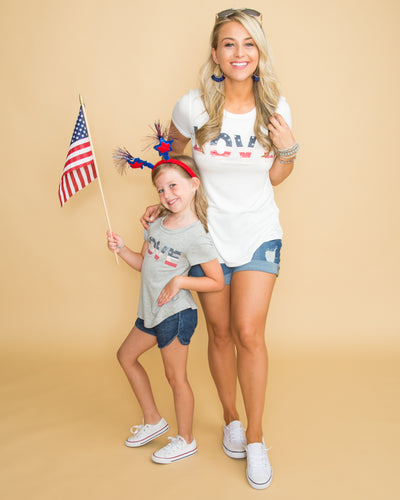 Little Patriot Love Graphic Tee - Grey