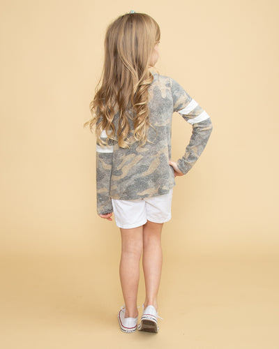 Little Trendsetter Varsity Stripe Top - Camo