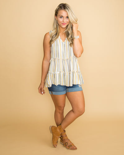 Live Your Daydreams Stripe Ruffle Tank - Multi