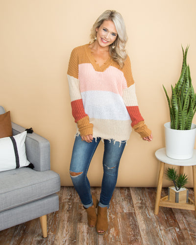 Living Free Color-Block Sweater - Multi