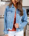Long Weekend Distressed Denim Jacket - Medium Wash