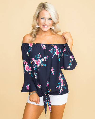 Long Beach Floral Knot Top - Navy