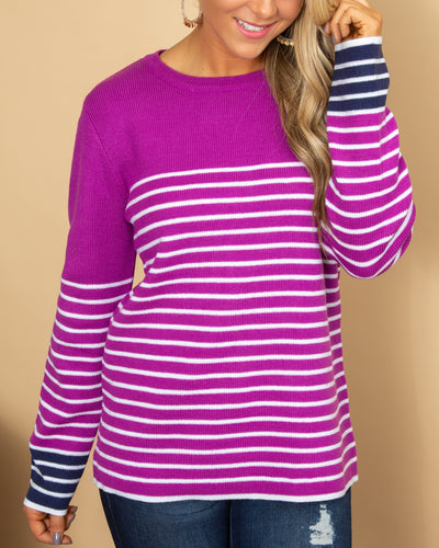 Look On The Bright Side Sweater - Violet