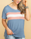 Looking Back Color-Block Waffle Knit Top - Dusty Blue