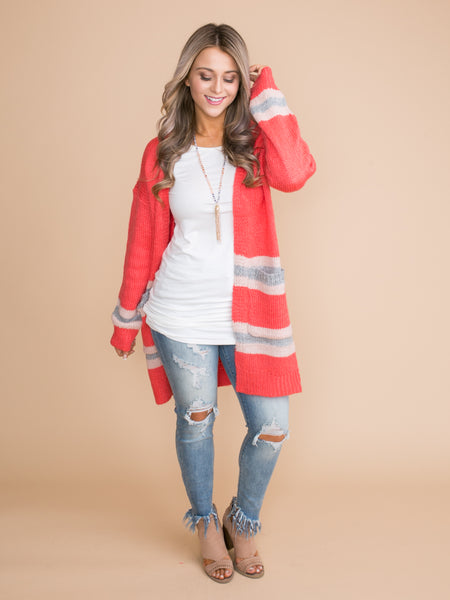 Looking For Something More Oversized Cardigan - Coral
