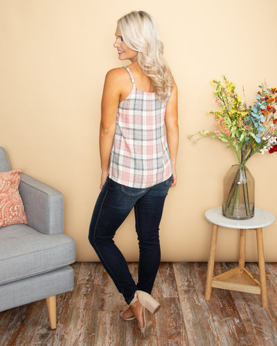 Looking For You Plaid Button Down Tank - Cream
