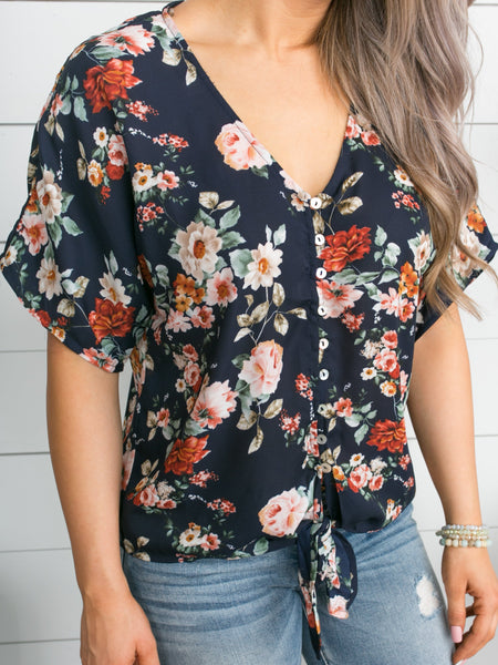 Lost In Your Eyes Floral Knot Top - Navy