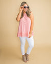 Love On My Mind Lace Tank - Seaside Pink