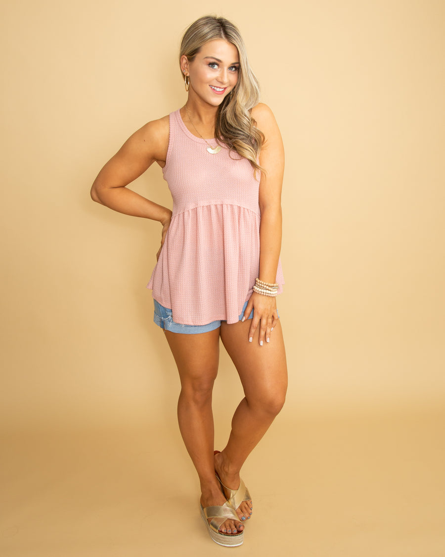 Love Within Waffle Knit Tank - Blush