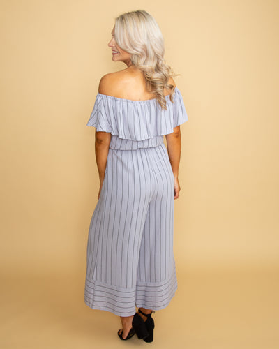 Love Without Limits Off Shoulder Jumpsuit - Blue Grey