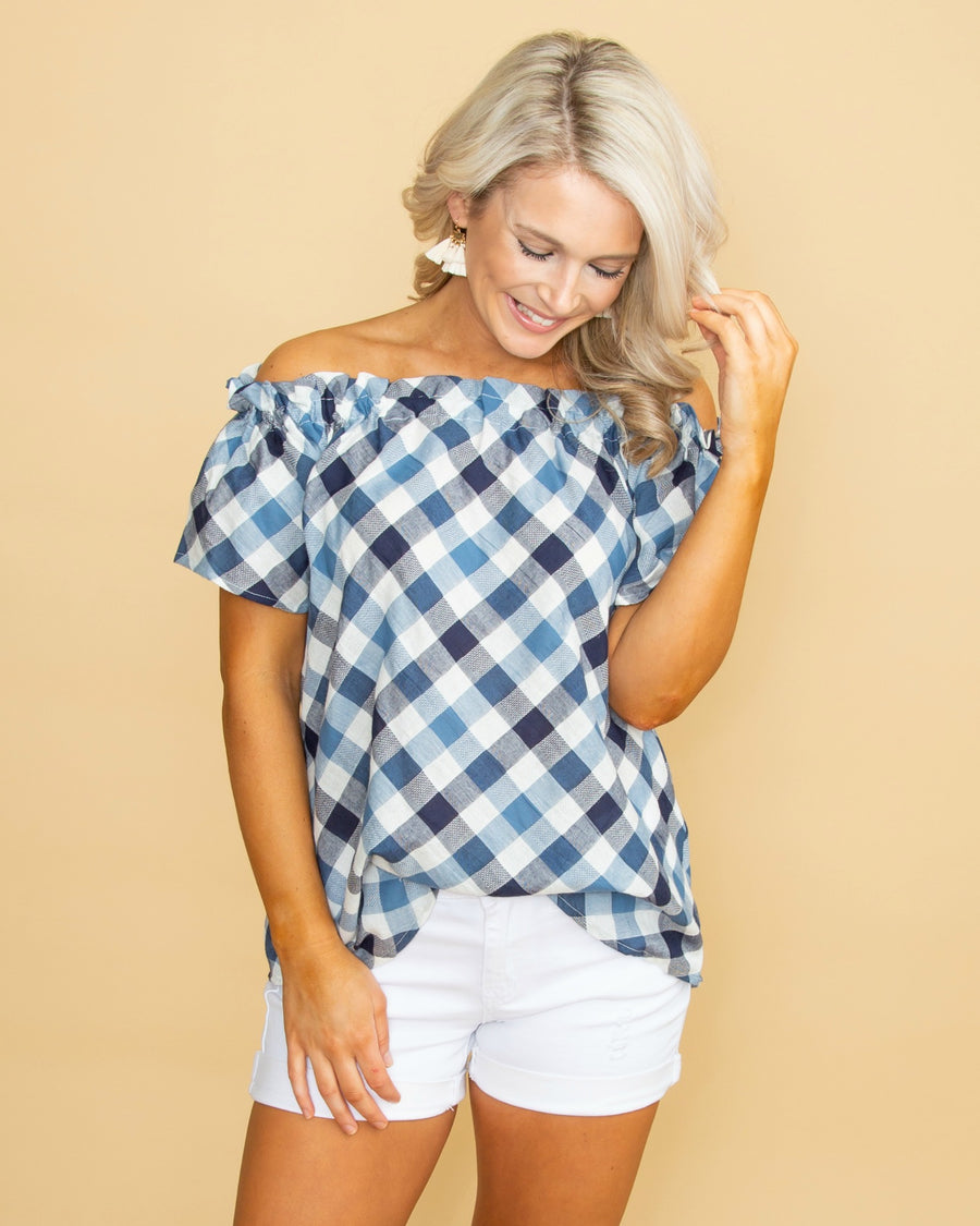 c8eb5e7238f813 Love You Always Off Shoulder Plaid Top - Navy