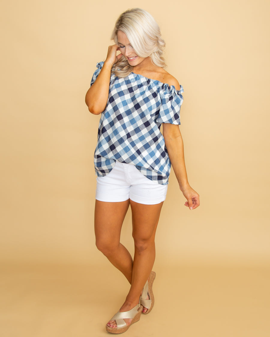 8fe151ccb76c3 Love You Always Off Shoulder Plaid Top - Navy