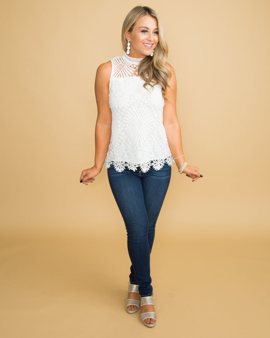Loved You All Along Lace Top - Off White
