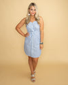 Loving You Forever Stripe Button Dress - Blue/Off White