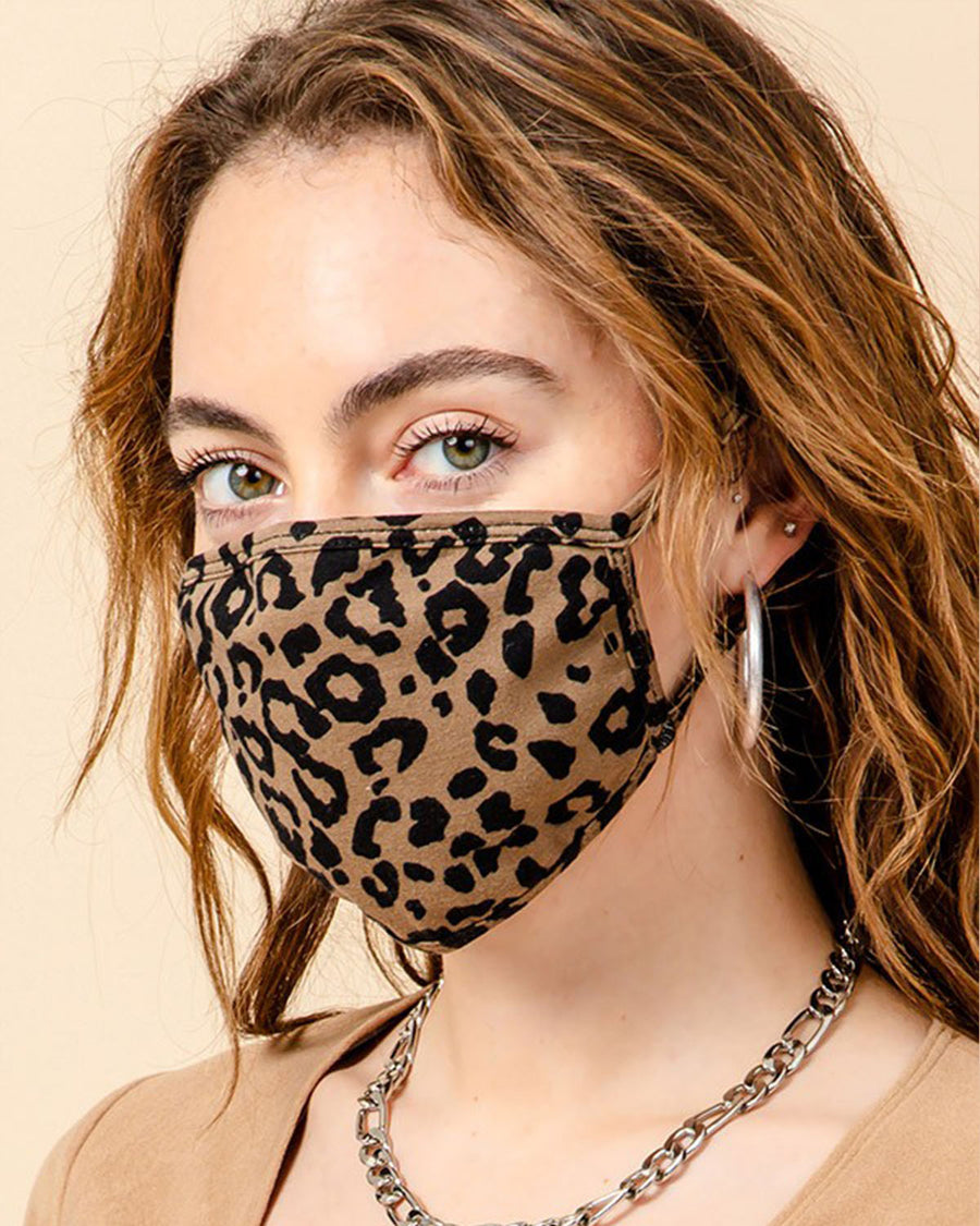 Lucy Leopard Face Mask - Taupe