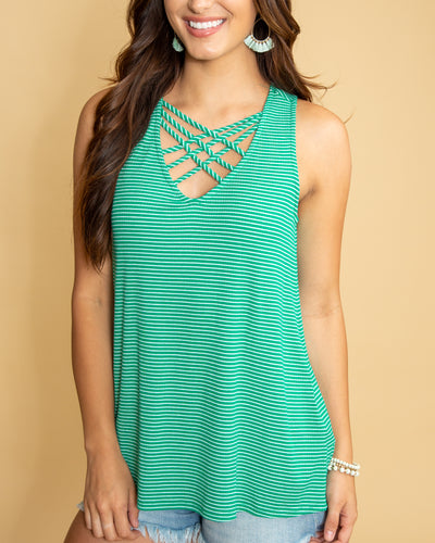 Made You Look Stripe Criss Cross Tank - Emerald