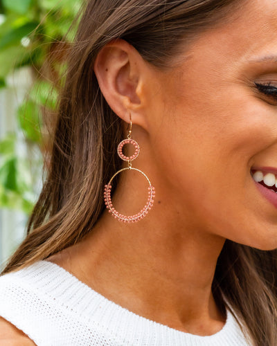 Madison Double Hoop Earrings - Salmon