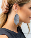 Mae Feather Earrings - Grey