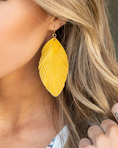 Mae Feather Earrings - Mustard