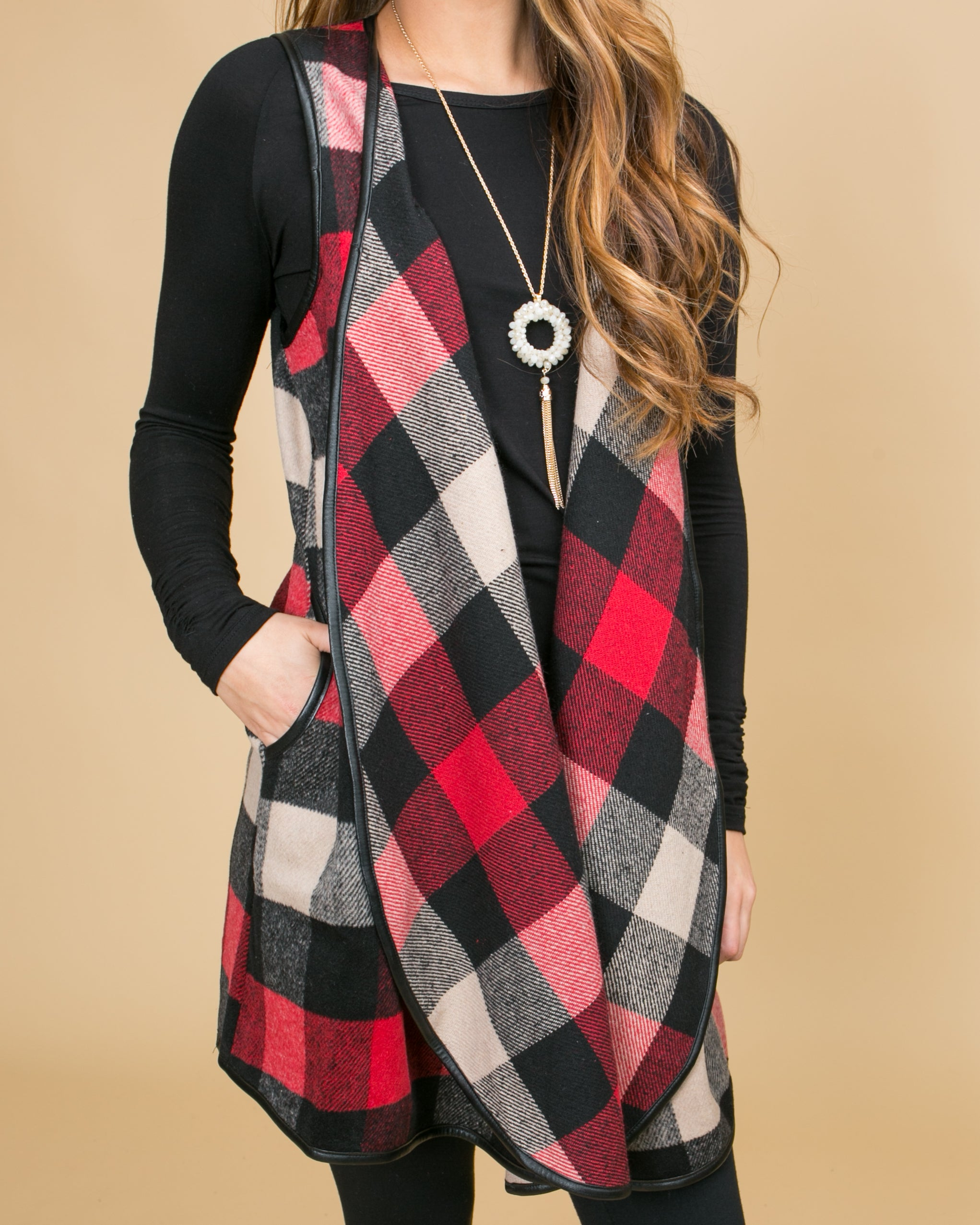 Magic In The Mountains Plaid Vest - Red
