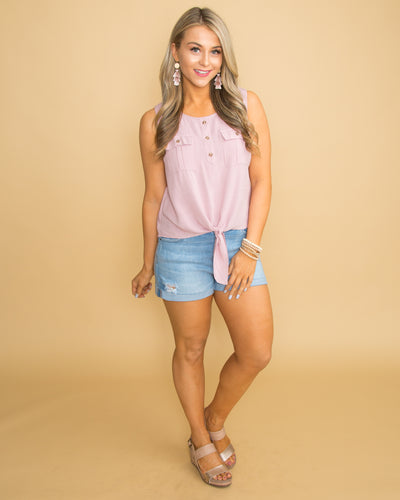Make It Last Button Knot Top - Blush