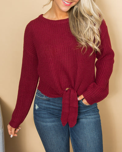 Make The Time Cropped Knot Sweater - Burgundy