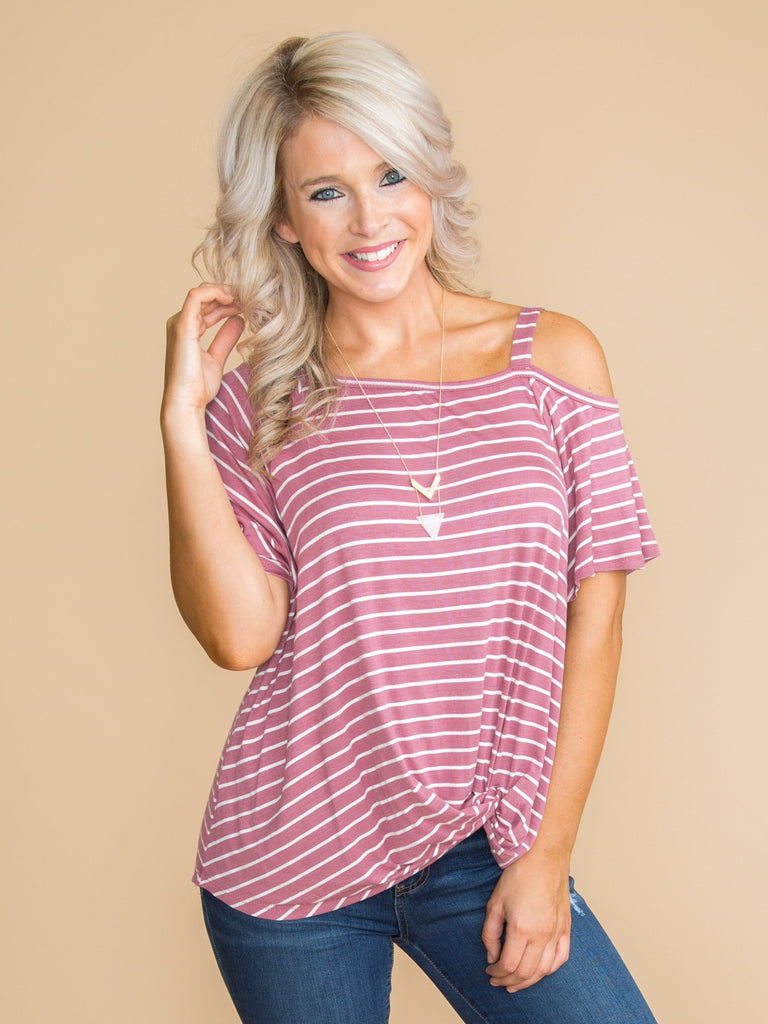 Make Your Way Stripe One Shoulder Top - Mauve