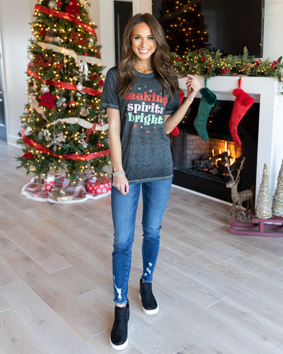 Making Spirits Bright Tee - Heather Black