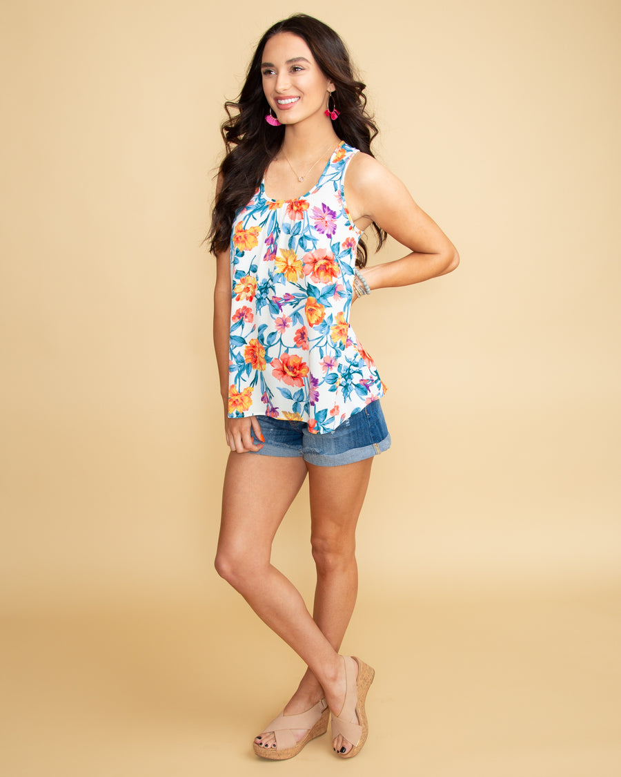 Malibu Wishes Floral Tank - Off White