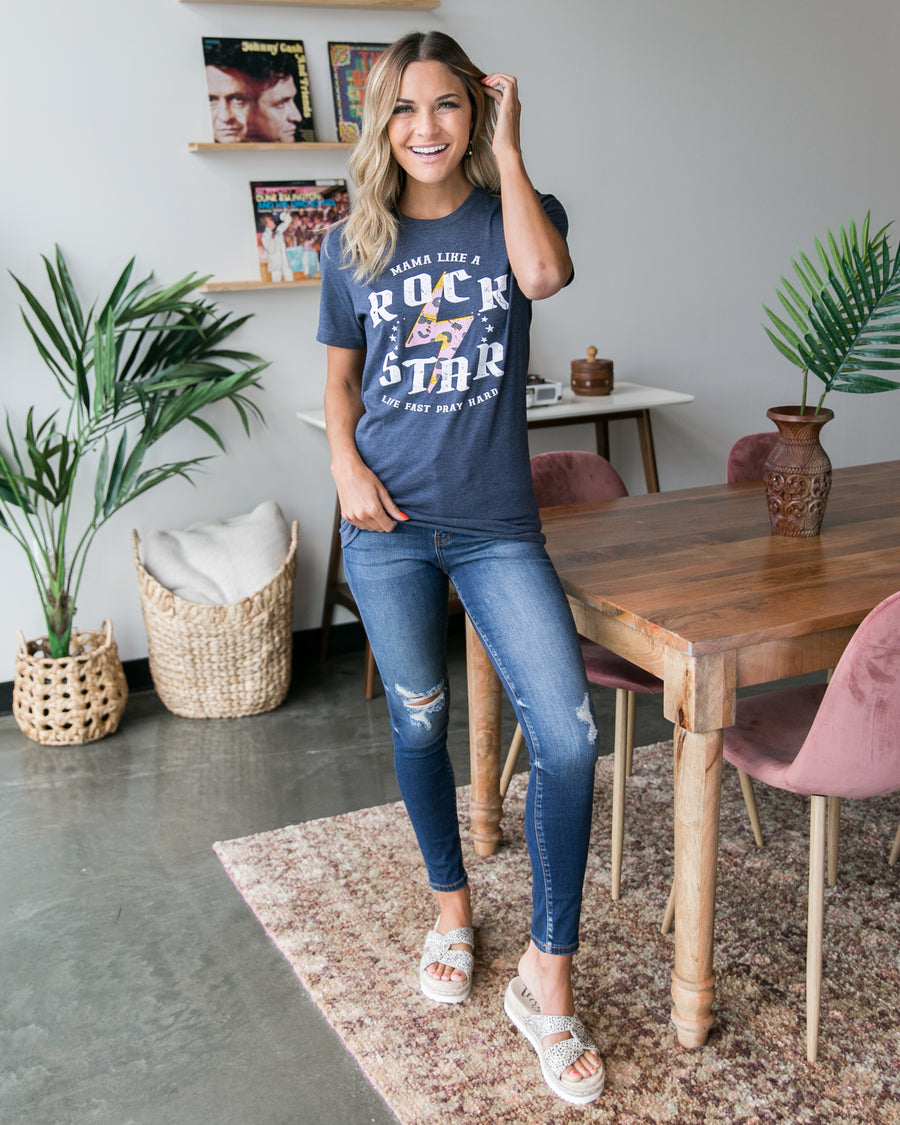 Mama Like A Rockstar Graphic Tee - Navy
