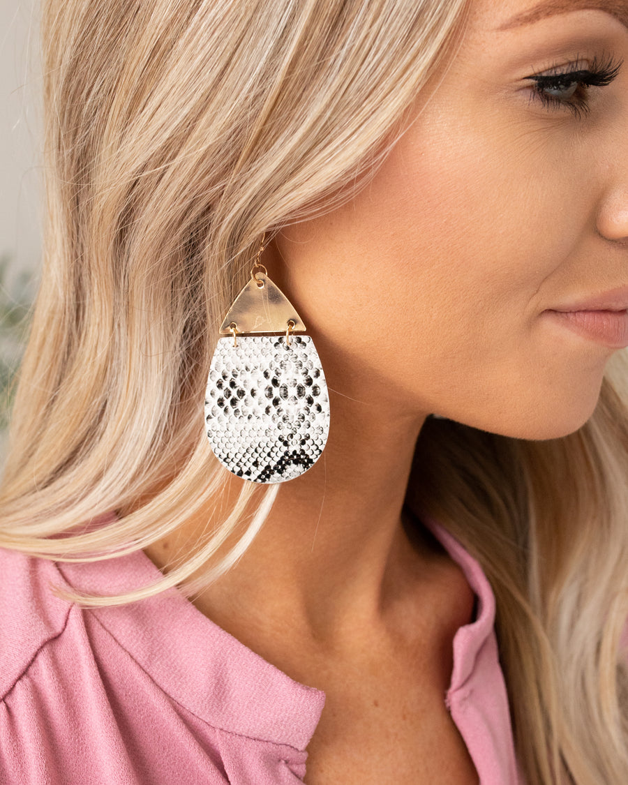 Marcy Earrings - Snakeskin