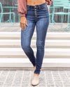 Maria Button Up Skinny Jeans - Dark Wash