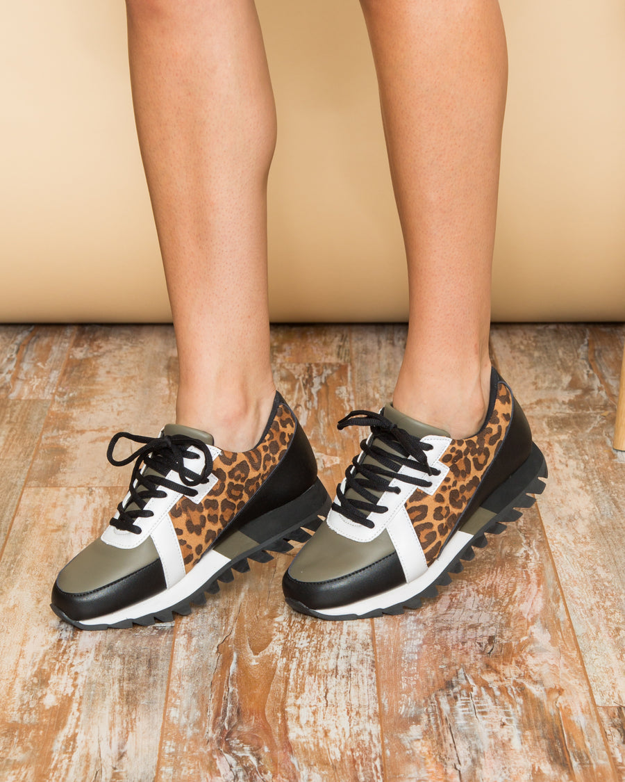 Marissa Leopard Color-Block Tennis Shoe - Multi