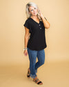 Masquerade V-Neck Top - Black