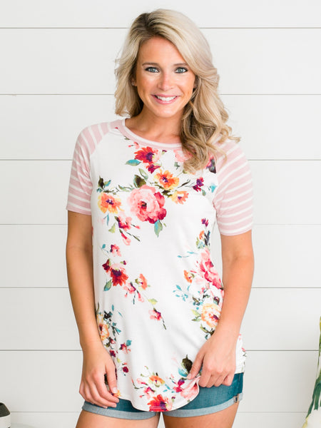 Happy Hello Floral Top - Ivory/Blush