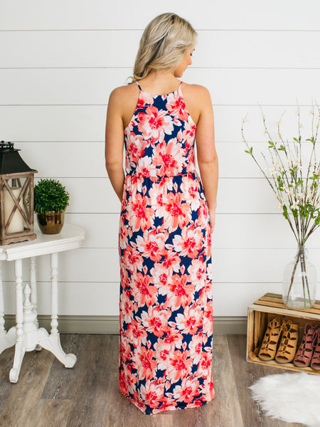 Destination Happiness Maxi Dress - Navy/Coral