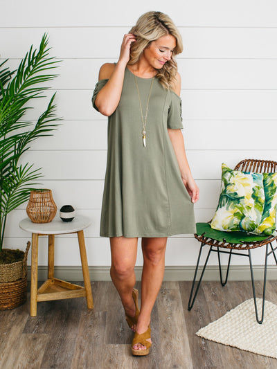 Venice Beach Open-Shoulder Dress - Olive