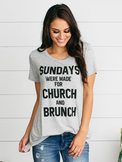 Sundays Were Made For Church And Brunch Tee - Grey