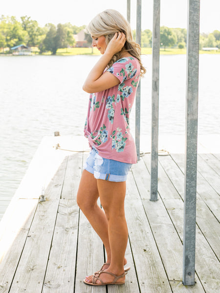 Splendid Floral Knot Top - Dusty Pink