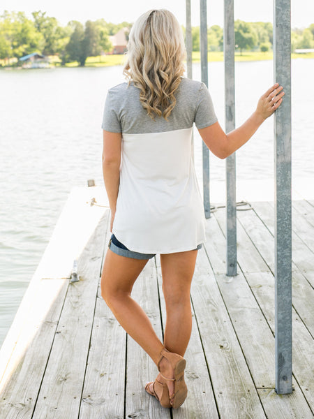 Friday Fun Pocket Top - Grey