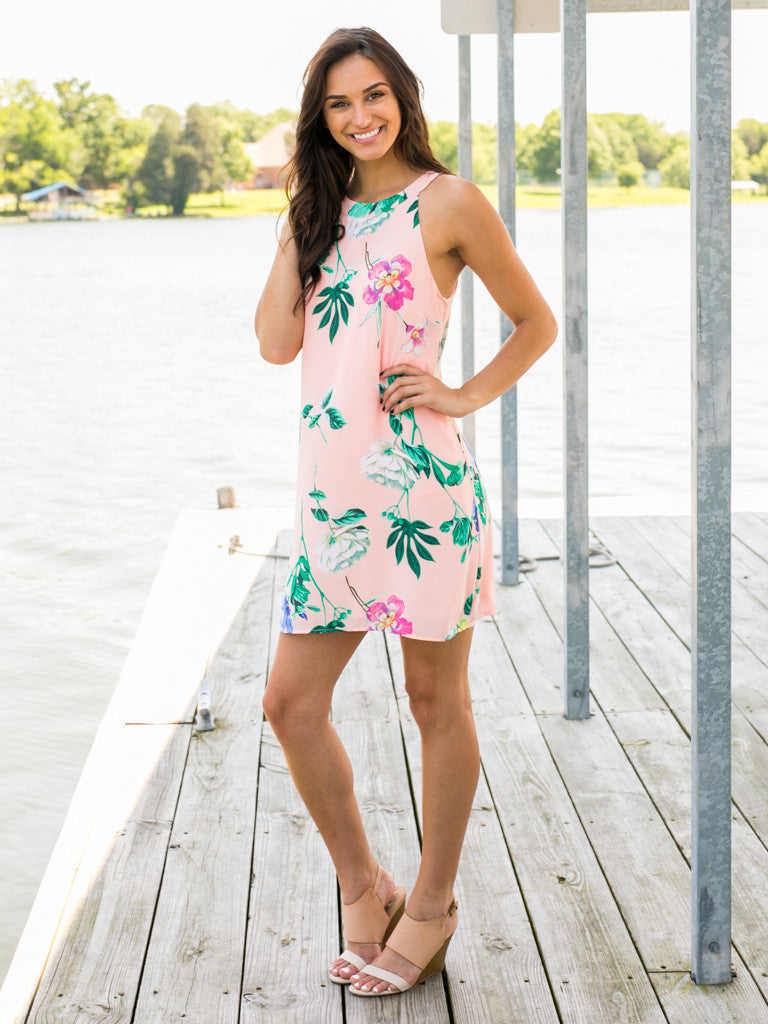 Clearwater Floral Halter Dress - Peach