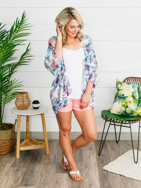 Everly Fawning Over You Floral Kimono - Coral/Turquoise