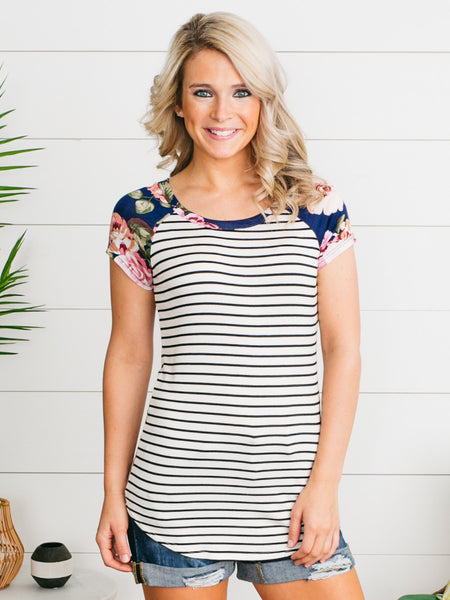 Mandy Mixed Media Top - Ivory/Navy