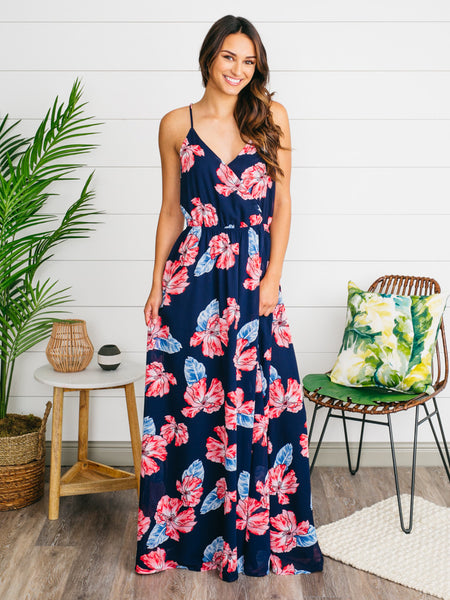 Freshly Picked Floral Maxi Dress - Navy