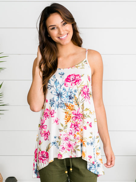 Best Day Ever Floral Tank - Ivory