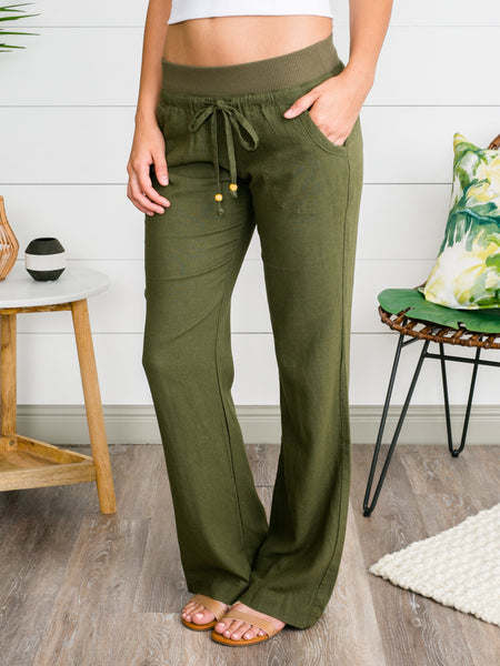 Just My Style Linen Pants - Olive