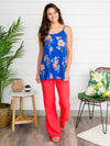 Best Day Ever Floral Tank - Cobalt