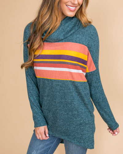 Maybe There's More Color-Block Cowl Neck Tunic - Deep Teal